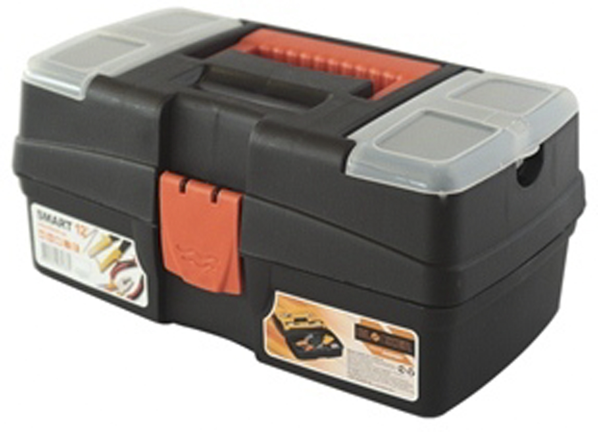 Ящик для инструментов Blocker Smart, цвет: черный, оранжевый, 290 х 170 х 132 мм80623Многофункциональный ящик небольшого размера Blocker Smart отлично подходит для хранения ремонтных и бытовых принадлежностей, а также используется в качестве аптечки дома и в автомобиле. Ящик имеет надежный замок, удобную ручку для переноски и встроенные органайзеры в крышке для размещения мелких деталей.