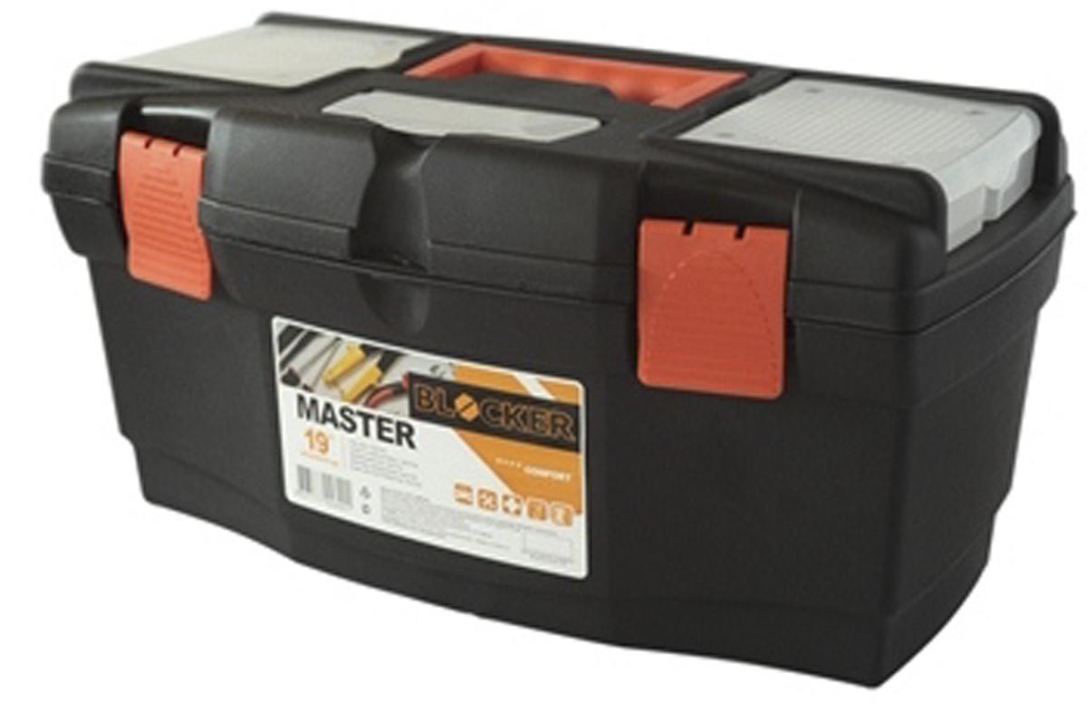Ящик для инструментов Blocker Master, цвет: черный, оранжевый, 485 х 250 х 245 мм80621Ящик Blocker Master предназначен для хранения инструмента и других хозяйственных нужд. Классическая форма, внутренний лоток для эффективной организации хранения. Блоки для мелочей на крышке идеально подходят для размещения мелких скобяных изделий. Надежные замки позволяют безопасно переносить ящик с большой загрузкой. Отверстие для крепления навесного замка позволит защитить инструмент при транспортировке.