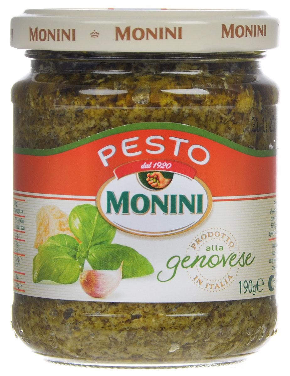 Monini Pesto Alla Genovese соус песто, 190 г0120710Песто - популярный соус итальянской кухни на основе оливкового масла, базилика и сыра. Отлично сочетается с пастой, лазаньей, салатами и супами.