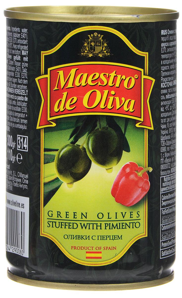 Maestro de Oliva оливки с перцем, 300 г maestro de oliva оливки с беконом 300 г
