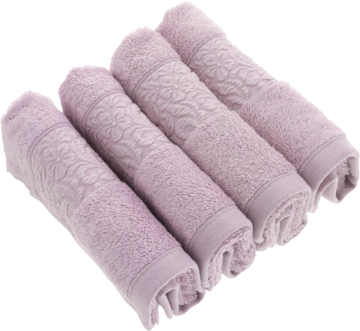 Набор бамбуковых полотенец Issimo Home Valencia, цвет: лиловый, 30 x 50 см, 4 штPR-2WПолотенца Issimo Home Valencia выполнены из 60% бамбукового волокна и 40% хлопка. Такими полотенцами не нужно вытираться - только коснитесь кожи - и ткань сама все впитает. Такая ткань впитывает в 3 раза лучше, чем хлопок.Набор из маленьких полотенец-салфеток очень практичен - он станет незаменимым в дороге и в путешествиях. Кроме того, это хороший, красивый и изысканный подарок.Несмотря на богатую плотность и высокую петлю полотенец, они быстро сохнут, остаются легкими даже при намокании.Набор бамбуковых полотенец имеет красивый жаккардовый бордюр, выполненный с орнаментом в цвет изделия. Благородные, классические тона создадут уют и подчеркнут лучшие качества махровой ткани, а сочные, яркие, летние оттенки создадут ощущение праздника и наполнят дом энергией. Красивая, стильная упаковка этих полотенец делает их уже готовым подарком к любому случаю.