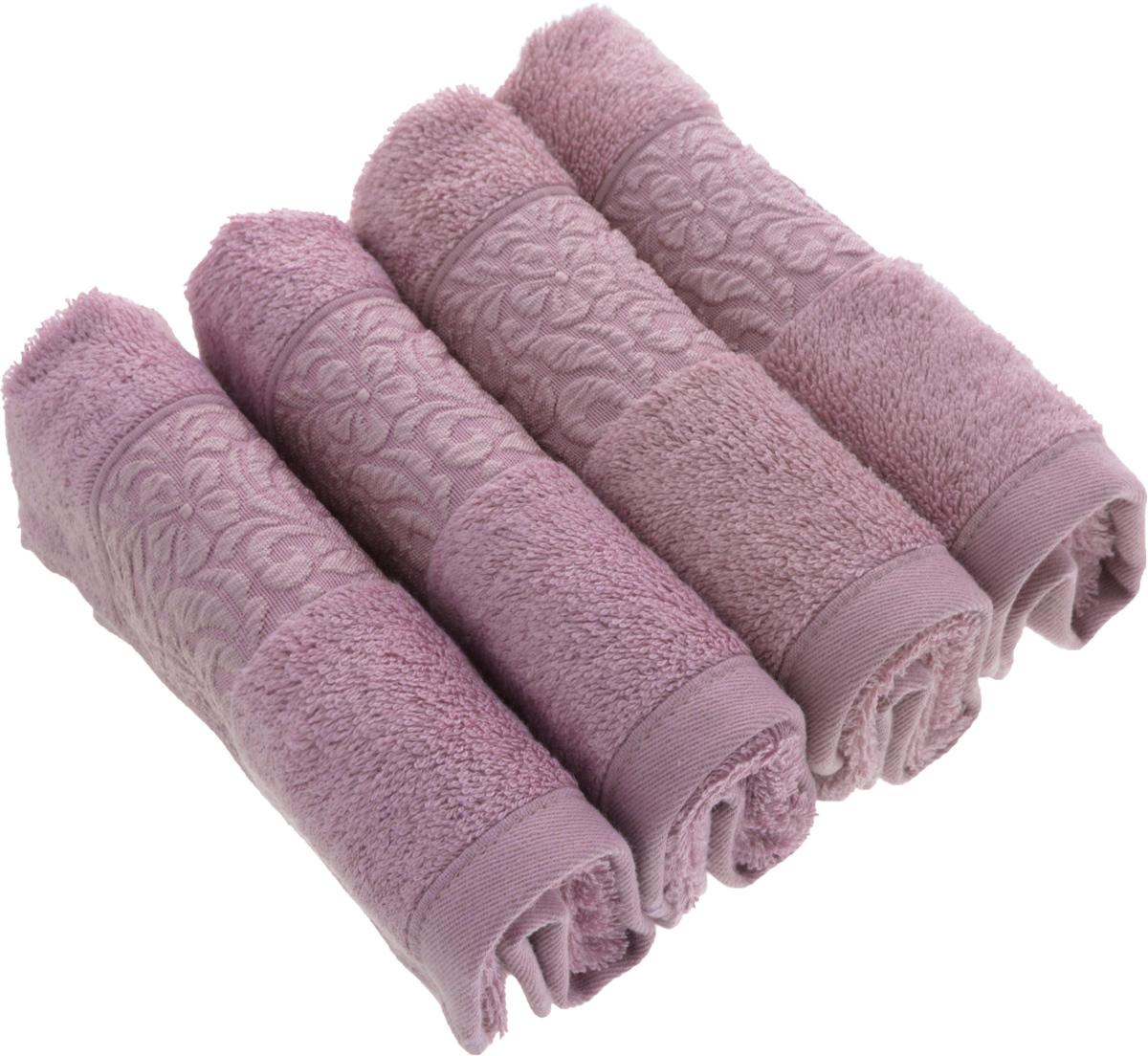Набор бамбуковых полотенец Issimo Home Valencia, цвет: светло-пурпурный, 30 x 50 см, 4 штPARADIS I 75013-5C ANTIQUEПолотенца Issimo Home Valencia выполнены из 60% бамбукового волокна и 40% хлопка. Такими полотенцами не нужно вытираться - только коснитесь кожи - и ткань сама все впитает. Такая ткань впитывает в 3 раза лучше, чем хлопок.Набор из маленьких полотенец-салфеток очень практичен - он станет незаменимым в дороге и в путешествиях. Кроме того, это хороший, красивый и изысканный подарок.Несмотря на богатую плотность и высокую петлю полотенец, они быстро сохнут, остаются легкими даже при намокании.Набор бамбуковых полотенец имеет красивый жаккардовый бордюр, выполненный с орнаментом в цвет изделия. Благородные, классические тона создадут уют и подчеркнут лучшие качества махровой ткани, а сочные, яркие, летние оттенки создадут ощущение праздника и наполнят дом энергией. Красивая, стильная упаковка этих полотенец делает их уже готовым подарком к любому случаю.