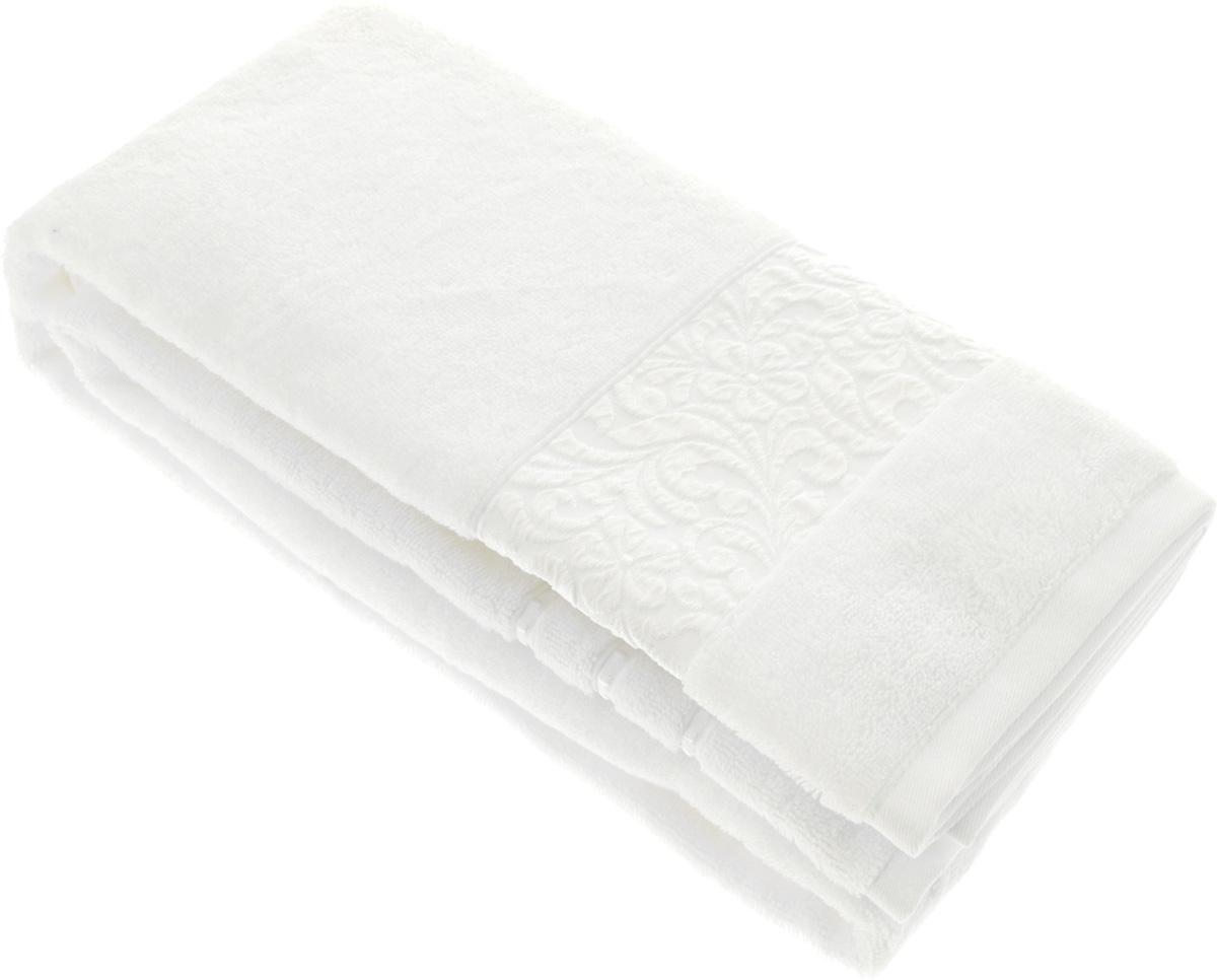 Полотенце бамбуковое Issimo Home Valencia, цвет: белый, 90 x 150 см68/5/4Полотенце Issimo Home Valencia выполнено из 60% бамбукового волокна и 40% хлопка. Таким полотенцем не нужно вытираться - только коснитесь кожи - и ткань сама все впитает. Такая ткань впитывает в 3 раза лучше, чем хлопок.Несмотря на богатую плотность и высокую петлю полотенца, оно быстро сохнет, остается легким даже при намокании.Бамбуковое полотенце имеет красивый жаккардовый бордюр, выполненный с орнаментом в цвет полотенца. Благородный, классический тон создаст уют и подчеркнет лучшие качества махровой ткани, а сочный, яркий, летний оттенок создаст ощущение праздника и наполнит дом энергией. Красивая, стильная упаковка этого полотенца делает его уже готовым подарком к любому случаю.