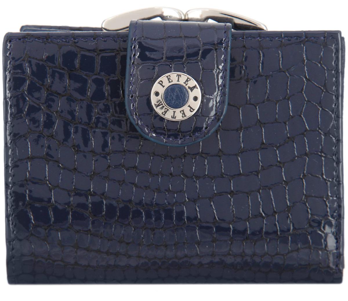 Портмоне женское Petek 1855, цвет: темно-синий. 336/1.091.081-022_516Стильное портмоне Petek 1855 изготовлено из натуральной лакированной кожи с тиснением под крокодила. Портмоне закрывается на хлястик с кнопкой.Внутри находятся два отделения для купюр, шесть кармашков для визиток и пластиковых карт, один из которых с сетчатым окошечком, четыре боковых кармана и карман для мелочи, закрывающийся на защелку. Портмоне упаковано в фирменную коробку.Такое портмоне станет замечательным подарком человеку, ценящему качественные и практичные вещи.
