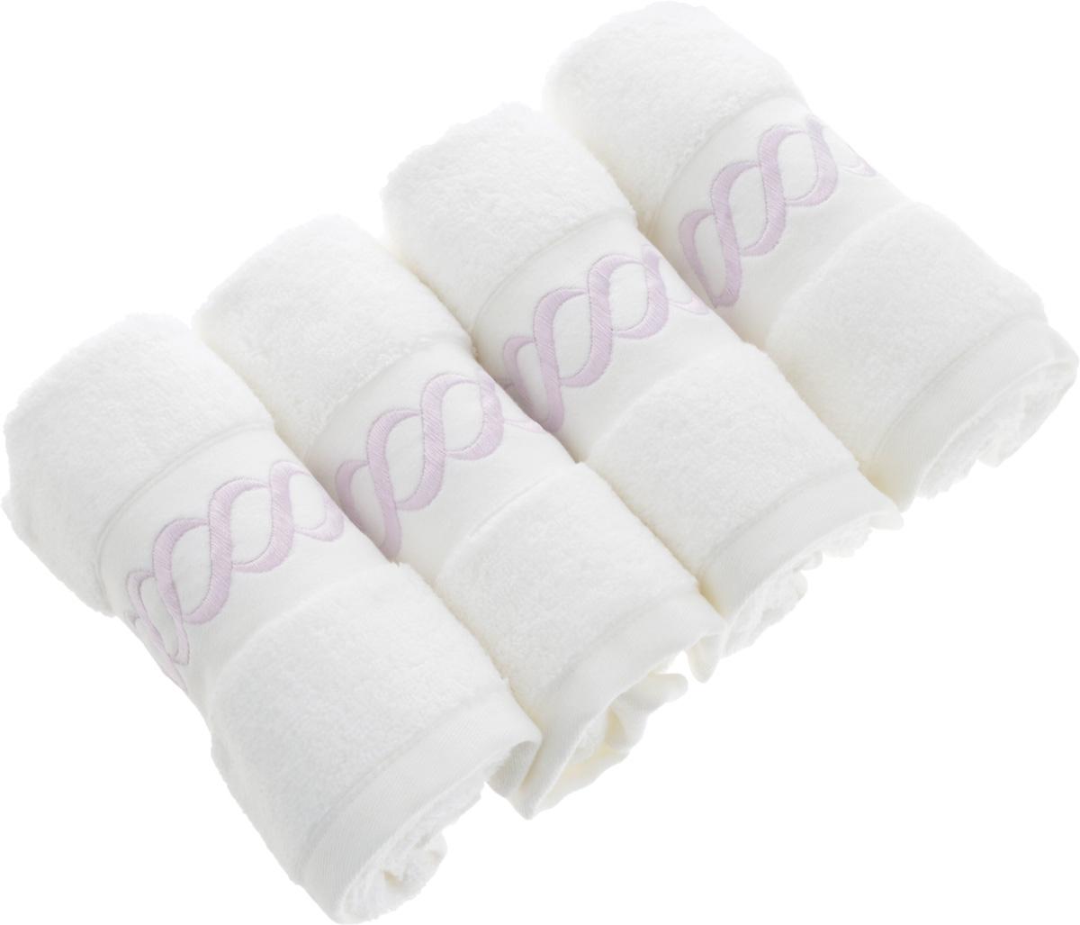 Набор махровых полотенец Issimo Home Pauline, цвет: белый, лиловый, 30 x 50 см, 4 штS03301004Набор полотенец Issimo Home Pauline выполнен из натуральной махровой ткани (100% хлопок). Изделия отлично впитывают влагу, быстро сохнут и не теряют форму даже после многократных стирок. Рекомендации по уходу:- режим стирки при 40°C,- допускается обычная химчистка,- отбеливание запрещено,- глажка при температуре подошвы утюга до 110°С,- барабанный отжим запрещен.Размер полотенца: 30 x 50 см.