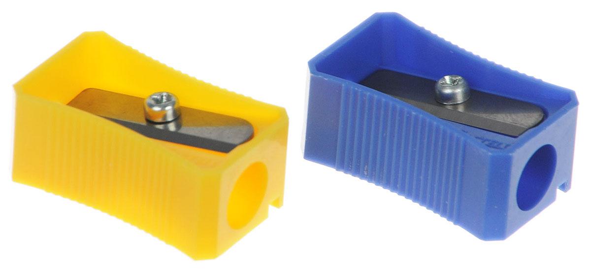 Faber-Castell Точилка цвет синий желтый 2 шт730396Точилка Faber-Castell предназначена для затачивания классических простых и цветных карандашей.В наборе две точилки из прочного пластика синего и желтого цветов с рифленой областью захвата. Острые лезвия обеспечивают высококачественную и точную заточку деревянных карандашей.
