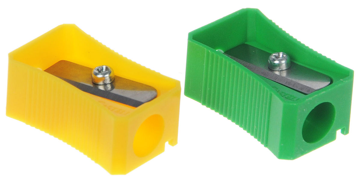 Faber-Castell Точилка цвет зеленый желтый 2 штО.9*Точилка Faber-Castell предназначена для затачивания классических простых и цветных карандашей.В наборе две точилки из прочного пластика зеленого и розового цветов с рифленой областью захвата. Острые лезвия обеспечивают высококачественную и точную заточку деревянных карандашей.