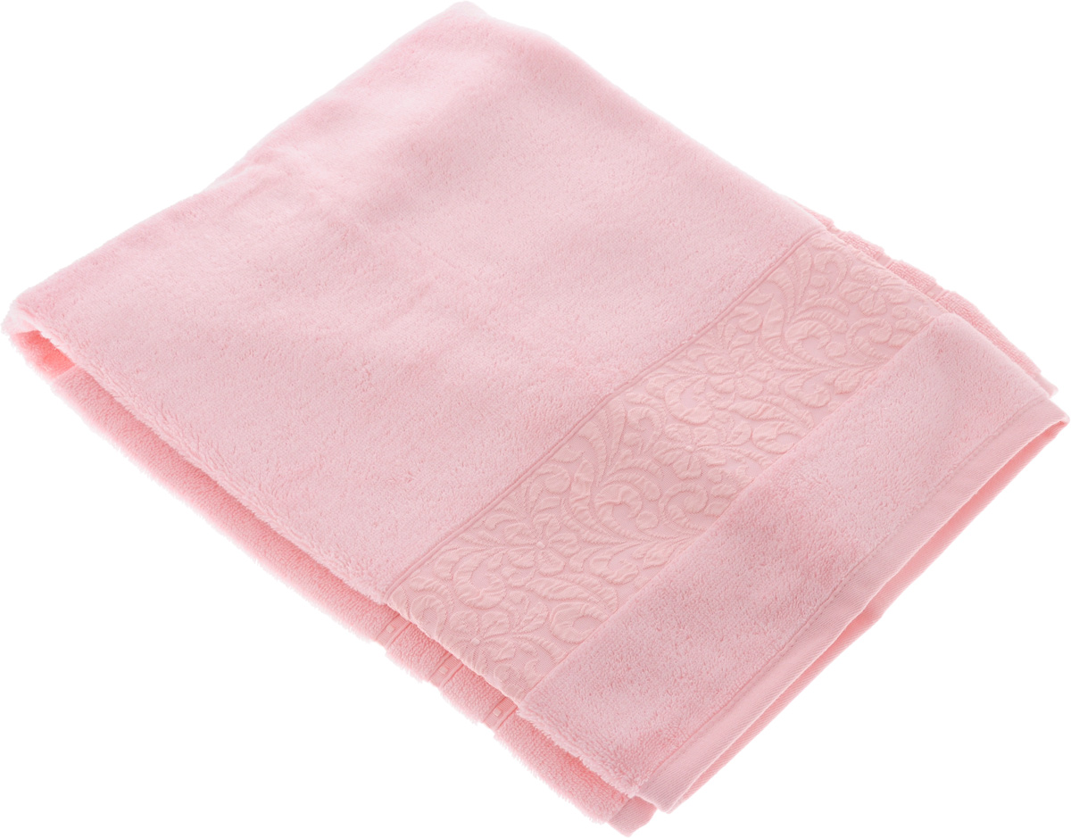 Полотенце бамбуковое Issimo Home Valencia, цвет: розовый, 90 x 150 см1004900000360Полотенце Issimo Home Valencia выполнено из 60% бамбукового волокна и 40% хлопка. Таким полотенцем не нужно вытираться - только коснитесь кожи - и ткань сама все впитает. Такая ткань впитывает в 3 раза лучше, чем хлопок.Несмотря на высокую плотность, полотенце быстро сохнет, остается легкими даже при намокании.Изделие имеет красивый жаккардовый бордюр, оформленный цветочным орнаментом. Благородные, классические тона создадут уют и подчеркнут лучшие качества махровой ткани, а сочные, яркие, летние оттенки создадут ощущение праздника и наполнят дом энергией. Красивая, стильная упаковка этого полотенца делает его уже готовым подарком к любому случаю.