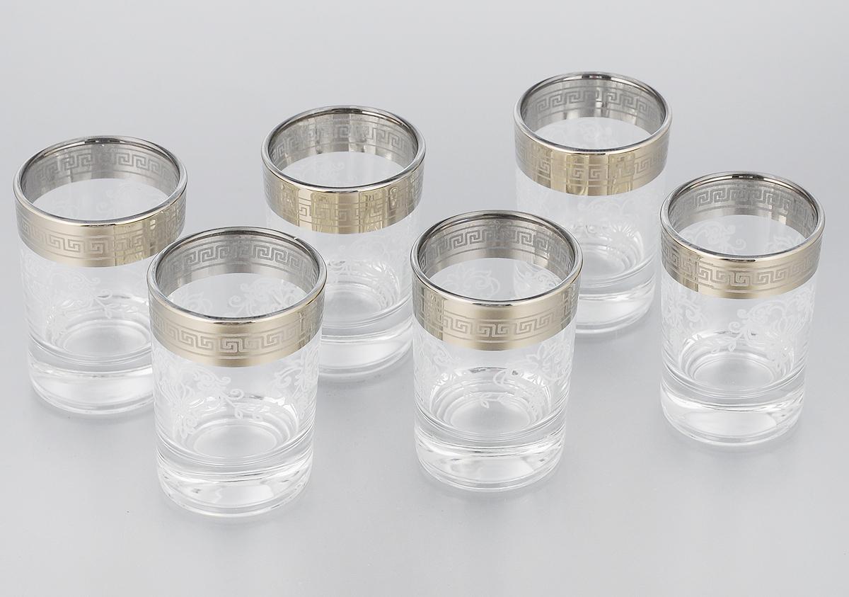 Набор стопок Гусь-Хрустальный Гармония, 60 мл, 6 шт. 1022/02VT-1520(SR)Набор Гусь-Хрустальный Гармония состоит из 6 стопок, изготовленных из высококачественного натрий-кальций-силикатного стекла. Изделия оформлены красивым зеркальным покрытием и белым матовым орнаментом. Такой набор прекрасно дополнит праздничный стол и станет желанным подарком в любом доме. Можно мыть в посудомоечной машине.Диаметр стопки: 4,5 см. Высота стопки: 6,7 см. Уважаемые клиенты! Обращаем ваше внимание на незначительные изменения в дизайне товара, допускаемые производителем. Поставка осуществляется в зависимости от наличия на складе.