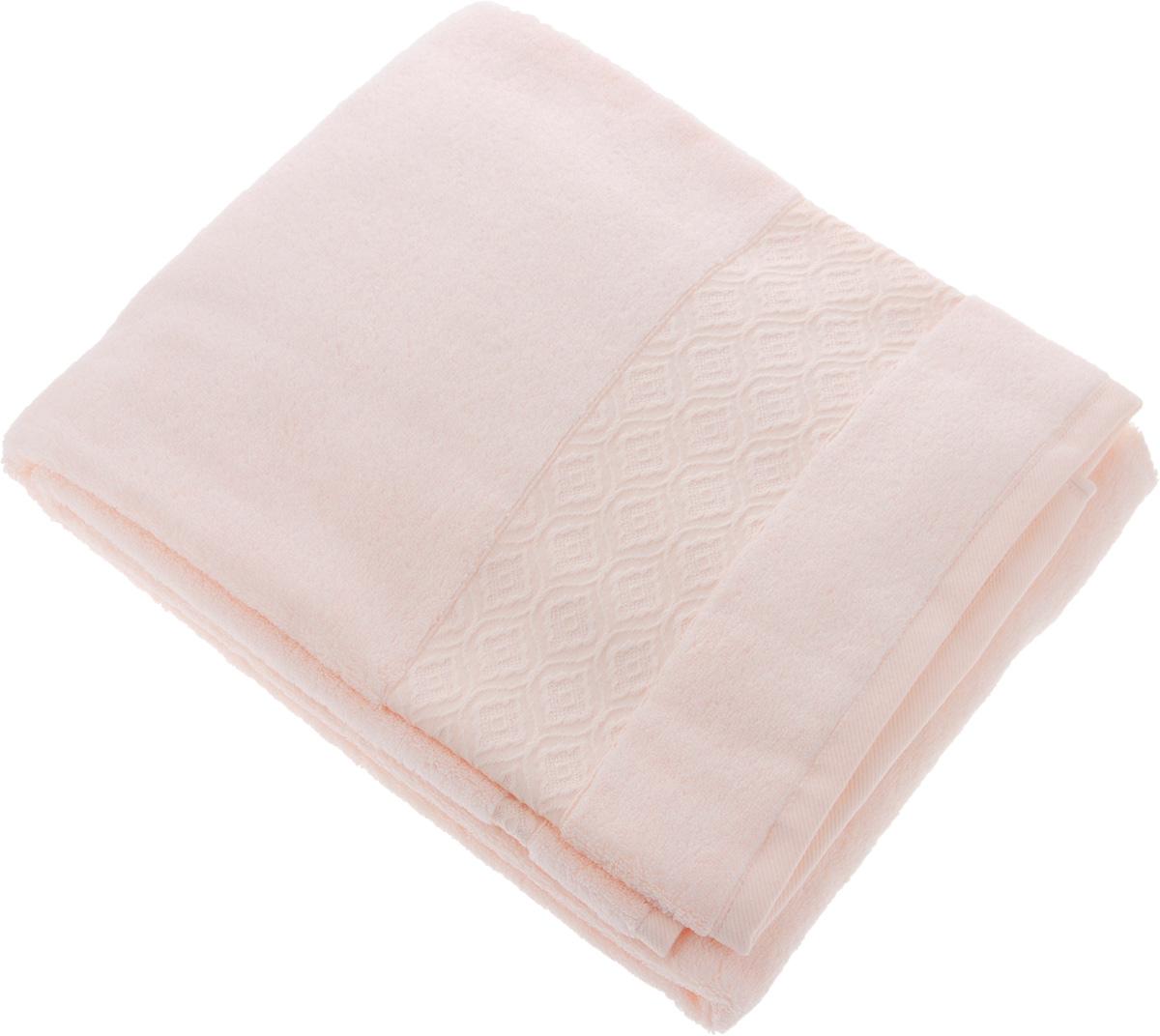 Полотенце Issimo Home Delphine, цвет: розовый, 90 x 150 см531-105Полотенце Issimo Home Delphine выполнено из модала и хлопка. Такое полотенце обладает уникальными свойствами и характеристиками. Необычайная мягкость модала и шелковистый блеск делают изделие приятными на ощупь и практичными в использовании. Моментально впитывает влагу, сохраняет невесомость даже в мокром виде, быстро сохнет. Полотенце декорировано жаккардовым узором.
