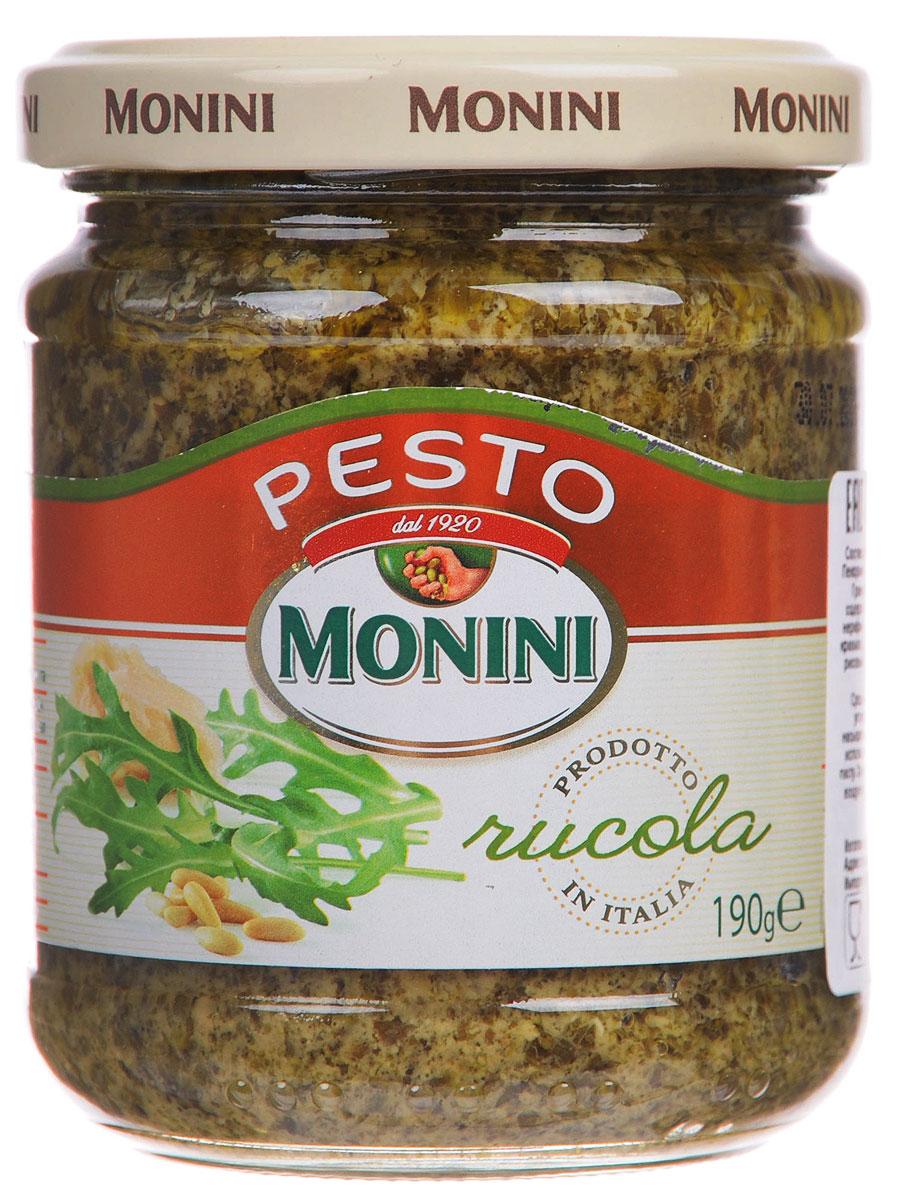 Monini Pesto Alla Rucola соус песто рукола, 190 г0120710Monini Pesto Alla Rucola - соус на основе ароматной итальянской рукколы. Идеально подходит для ароматизации соусов, мяса и рыбы.