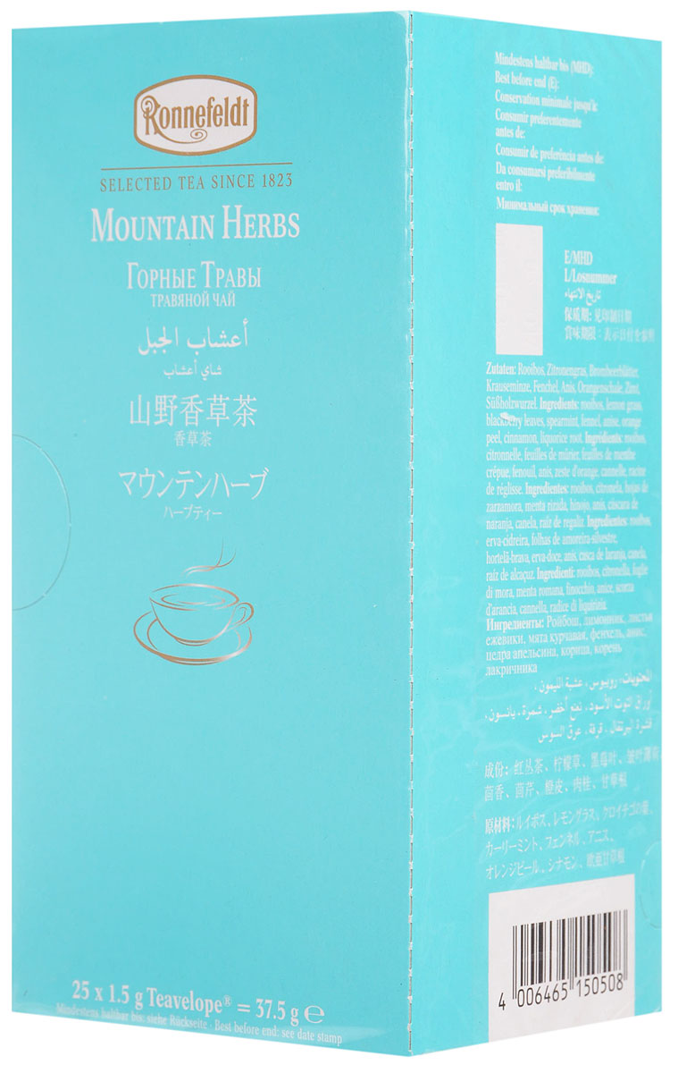 Ronnefeldt Горные травы травяной чай в пакетиках, 25 шт0120710Ronnefeldt Горные травы - сбалансированная смесь трав с ройбошем и тонкими освежающими нотками лимонника. Специальная пленка, в которую завернут пакетик, защищает индивидуальный вкус чая от влаги и посторонних запахов.