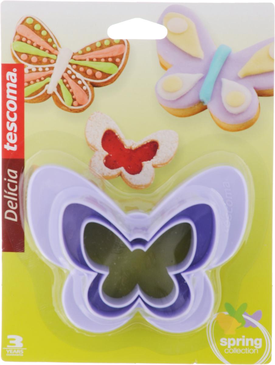 Формочки для вырезания печенья Tescoma Бабочки, двухсторонние, 2 шт54 009312Формочки для вырезания печенья Tescoma Бабочки изготовлены из пластика. В наборе 2 формочки в виде бабочки разных размеров. Предназначены для вырезания печенья, создания сладких украшений, бутербродов и других изделий.Можно использовать как трафареты для поделок. С такими формами-резаками можно сделать множество интересных фигурок. Можно мыть в посудомоечной машине.Размер форм: 4,7 см; 6,4 см; 7,6 см; 9 см.