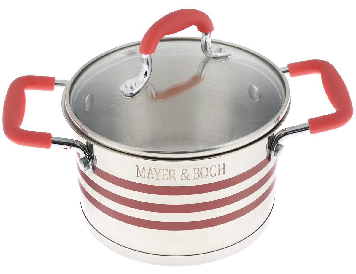 Кастрюля Mayer & Boch с крышкой, цвет: стальной, прозрачный, красный, 2,8 л. 24045391602Кастрюля Mayer & Boch изготовлена из высококачественной нержавеющей стали 18/10, которая придает ей привлекательный внешний вид, обеспечивает легкую очистку и долговечность. Многослойное термоаккумулирующее дно кастрюли с прослойкой из алюминия обеспечивает наилучшее распределение тепла. Ручки, оснащенные силиконовой накладкой, не перегреваются во время приготовления пищи. Крышка, выполненная из термостойкого стекла, позволяет следить за процессом приготовления пищи. Она оснащена отверстием для выхода пара и металлическим ободом. Форма кромки кастрюли предотвращает разливание жидкости, а благодаря правильности линий кромки в комбинации с крышкой обеспечивается максимальная герметизация между ними. Подходит для всех типов плит, включая индукционные. Можно мыть в посудомоечной машине. Яркий дизайн этой кастрюли придется по вкусу даже самой требовательной хозяйке. Диаметр кастрюли: 18 см.Ширина кастрюли (с учетом ручек): 28,5 см.Высота стенки: 11,5 см.
