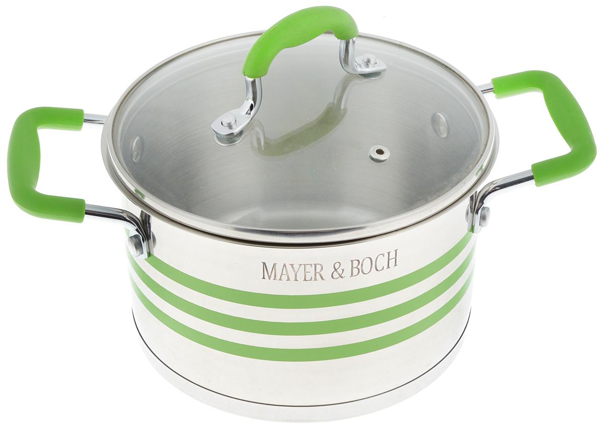 Кастрюля Mayer & Boch с крышкой, цвет: стальной, прозрачный, зеленый, 3,8 л54 009312Кастрюля Mayer & Boch изготовлена из высококачественной нержавеющей стали 18/10, которая придает ей привлекательный внешний вид, обеспечивает легкую очистку и долговечность. Многослойное термоаккумулирующее дно кастрюли с прослойкой из алюминия обеспечивает наилучшее распределение тепла. Ручки, оснащенные силиконовой накладкой, не перегреваются во время приготовления пищи. Крышка, выполненная из термостойкого стекла, позволяет следить за процессом приготовления пищи. Она оснащена отверстием для выхода пара и металлическим ободом. Форма кромки кастрюли предотвращает разливание жидкости, а благодаря правильности линий кромки в комбинации с крышкой обеспечивается максимальная герметизация между ними. Подходит для всех типов плит, включая индукционные. Можно мыть в посудомоечной машине. Яркий дизайн этой кастрюли придется по вкусу даже самой требовательной хозяйке. Диаметр кастрюли: 20 см.Ширина кастрюли (с учетом ручек): 31 см.Высота стенки: 12,7 см.