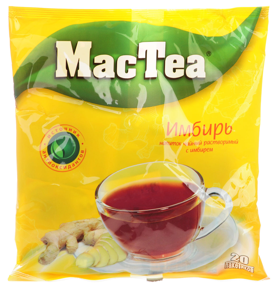 MacTea напиток чайный с имбирем, 20 шт0120710Растворимый чайный напиток MacTea с имбирем понравится и детям, и взрослым. Этот напиток можно употреблять как в холодном, так и в горячем виде. Для приготовления необходимо залить содержимое пакетика стаканом воды и тщательно размешать.