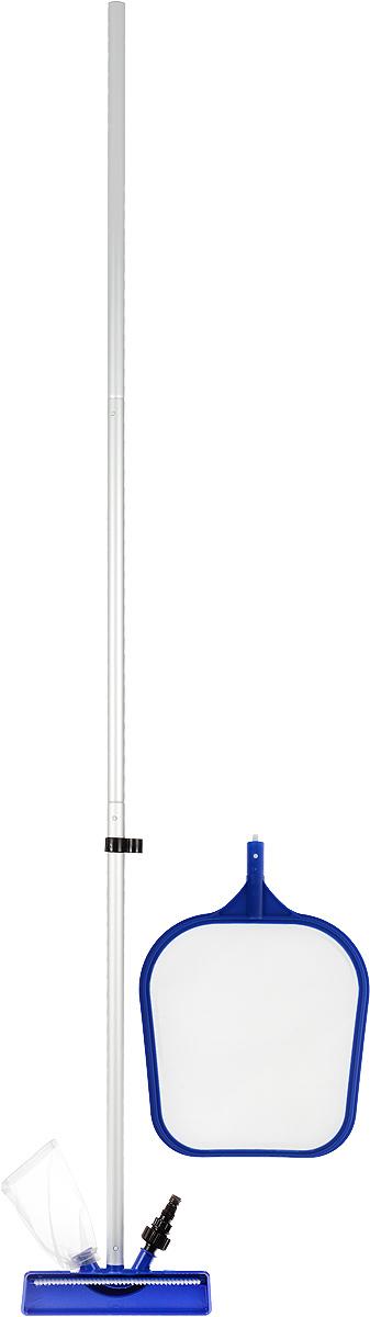 Bestway Набор для ухода за бассейномAS 25Набор Bestway состоит из легковесной штанги, цельной чистящей насадки с многоразовым мешком для мусора, сачка (скиммера). Чистящая насадка и сачок (скиммер) легко присоединяются к штанге. Насадка имеет разъем для присоединения к ней садового шланга. Сачок (скиммер) оснащен прочной и долговечной сеткой. Все предметы наборы выполнены из полимерных материалов.Для бассейнов размером 3,66 м. (12 футов) и меньше.Длина штанги: 2,03 мРазмер сачка (скиммера): 41 х 27 х 2 см. Размер насадки: 24 х 10 х 12 см.
