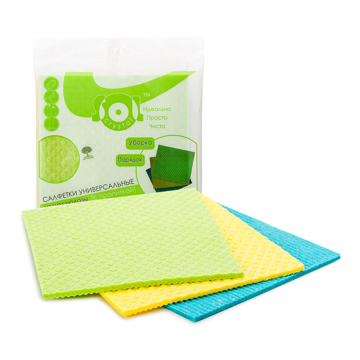 Салфетка для уборки Sol Crystal Cale, 18 x 20 см, 3 шт. 20002531-105Состав: 70% целлюлоза, 30% хлопок; цвет: желтый, голубой, зеленый