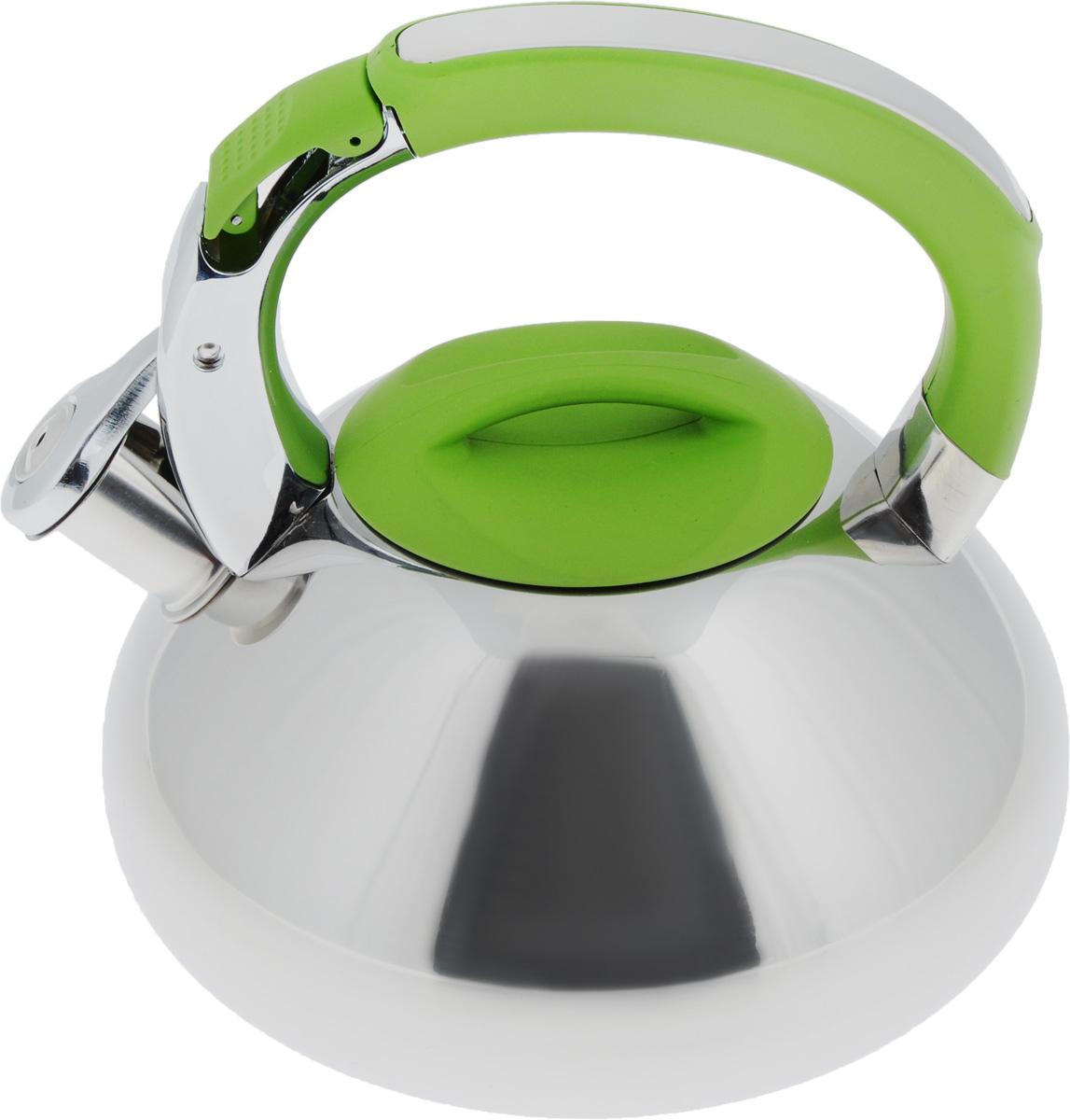 Чайник Mayer & Boch, со свистком, цвет: зеленый, 2,9 л. 2359123591Чайник Mayer & Boch выполнен из высококачественной нержавеющей стали, что обеспечивает долговечность использования. Внешнее зеркальноепокрытие придает приятный внешний вид. Фиксированная ручка из нейлона делает использование чайника очень удобным и безопасным. Чайник снабжен свистком и устройством для открывания носика, которое находится на ручке. Можно мыть в посудомоечной машине. Пригоден для всех видов плит, включая индукционные.Высота чайника (без учета крышки и ручки): 11,5 см.Высота чайника (с учетом ручки и крышки): 21,5 см. Диаметр по верхнему краю: 10 см.