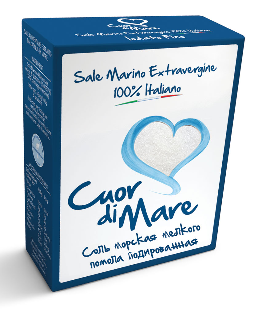 Cuor di Mare cоль морская пищевая йодированная мелкого помола, 500 г