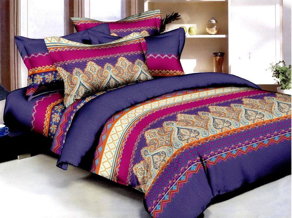 Комплект белья ЭГО Этро, 1,5-спальный, наволочки 70х70, цвет: фиолетовый. э-2009-01K100Материал - полисатин (50% хлопок, 50% полиэстер)
