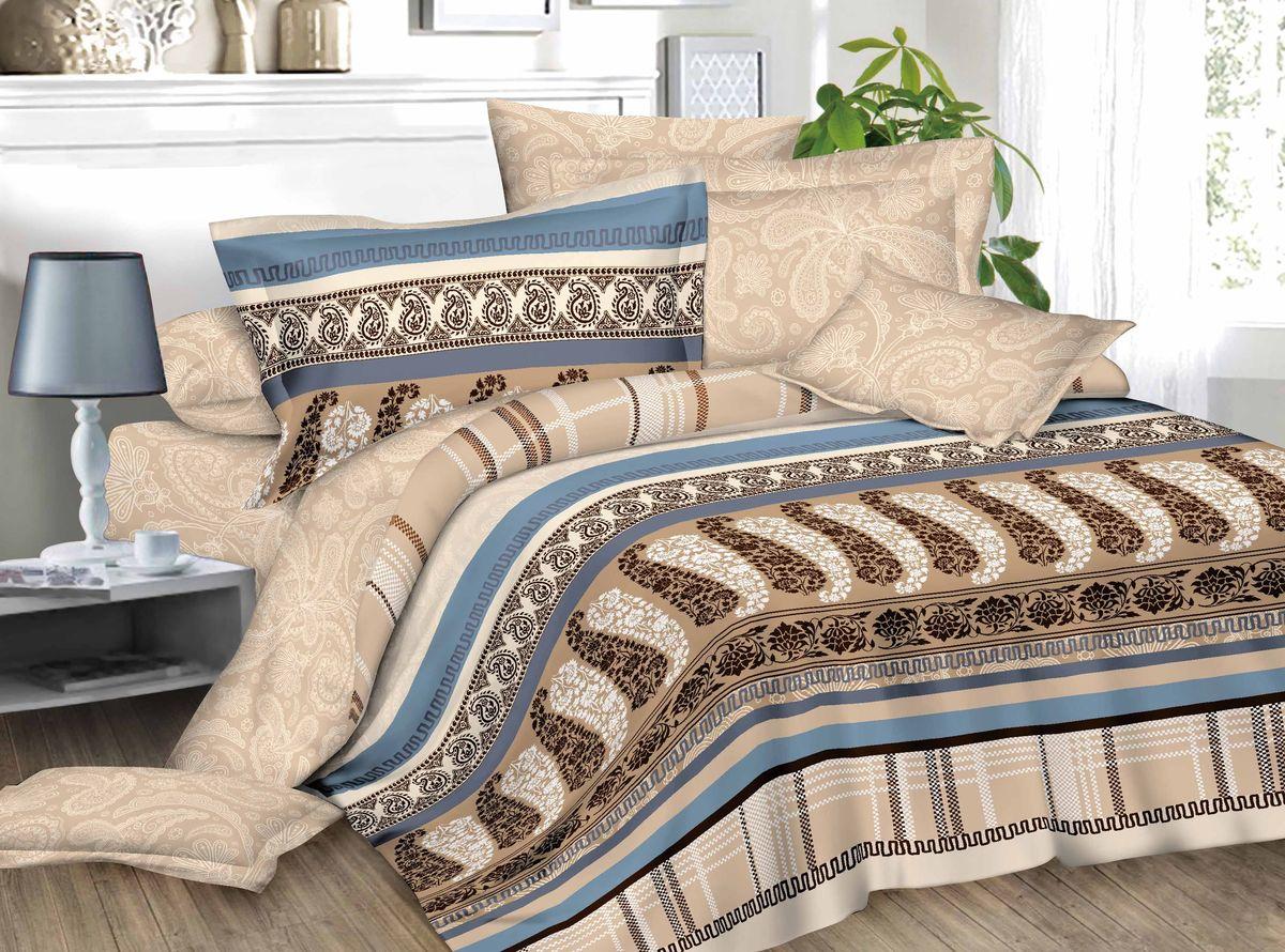 Комплект белья ЭГО Византия, 1,5-спальный, наволочки 70х70, цвет: бежевый. э-2013-0186533Материал - полисатин (50% хлопок, 50% полиэстер)