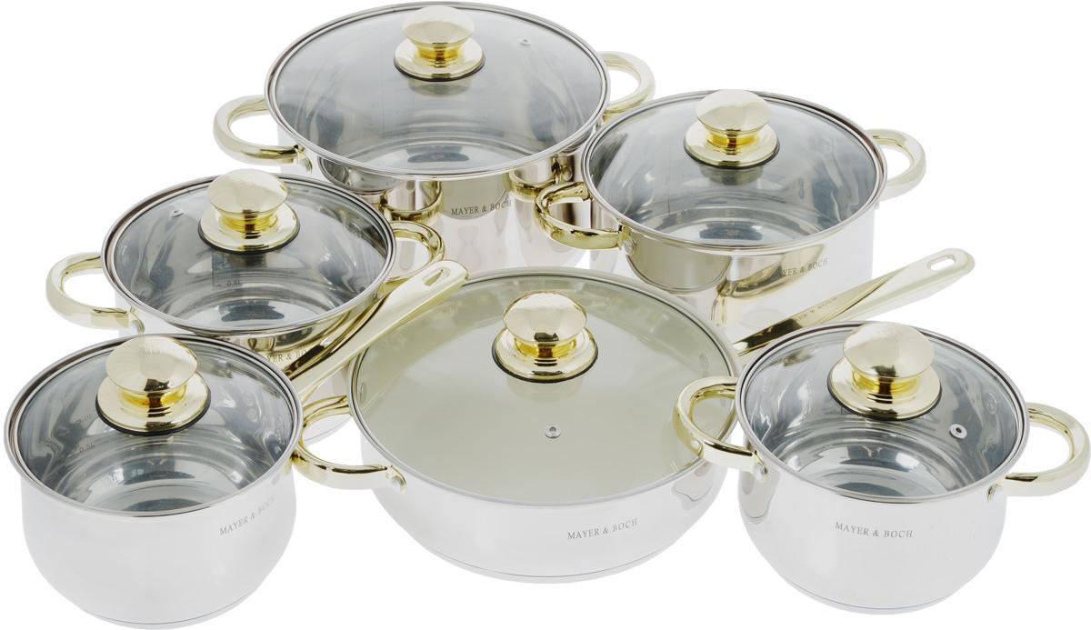 Набор посуды Mayer & Boch, 12 предметов. 4521CL-1918_молочный, коричневыйНабор Mayer & Boch состоит из четырех кастрюль разного объема, сковороды с керамическим покрытием, ковша и шести крышек. Емкости изготовлены из высококачественной нержавеющей стали 18/10 с зеркальной полировкой. Они оснащены капсулированным дном с прослойкой из алюминия, которое обеспечивает наилучшее распределение тепла по поверхности посуды. Ручки из нержавеющей стали надежно крепятся к корпусу емкостей. Золотистое покрытие ручек придает посуде элегантный внешний вид. Крышки из термостойкого стекла позволяют следить за процессом приготовления пищи без потери тепла. Они оснащены металлическим ободом по краю, который предотвращает сколы стекла. На внутренней поверхности кастрюль и ковша имеются отметки литража.Сковорода снабжена керамическим покрытием, которое предотвращает пригорание и прилипание пищи. Посуду можно использовать на всех типах плит, включая индукционные. Также изделия можно мыть в посудомоечной машине.Диаметр кастрюль (по верхнему краю): 16 см, 18 см, 20 см, 24 см. Высота стенок кастрюль: 11 см, 12 см, 13 см, 15 см. Ширина кастрюль (с учетом ручек): 25 см, 27 см, 29 см, 33 см. Объем кастрюль: 1,7 л, 2,5 л, 3,5 л, 6 л. Диаметр дна кастрюль: 13 см, 15 см, 17 см, 21 см. Объем ковша: 1,7 л. Диаметр ковша (по верхнему краю): 16 см. Высота стенки ковша: 11 см. Длина ручки ковша: 15,5 см. Диаметр дна ковша: 13 см. Диаметр сковороды (по верхнему краю): 24 см. Высота стенки сковороды: 8 см. Длина ручки сковороды: 18 см. Диаметр дна сковороды: 21 см. Объем сковороды: 3 л. УВАЖАЕМЫЕ КЛИЕНТЫ!Обращаем ваше внимание на тот факт, что объем кастрюль и ковша указан максимальный, с учетом полного наполнения до кромки. Шкала на внутренней стенке изделий имеет меньший литраж.