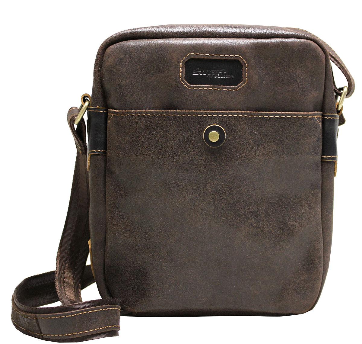 Сумка-планшет мужская Edmins Smart by Edmins, цвет: коричневый. 14С656КЗS76245Мужская сумка Edmins имеет одно отделение, закрывающееся на застежку-молнию. Оснащена регулируемым плечевым ремнем. C тыльной стороны сумки расположен прорезной карман на застежке-молнии. С передней стороны имеется накладной карман.