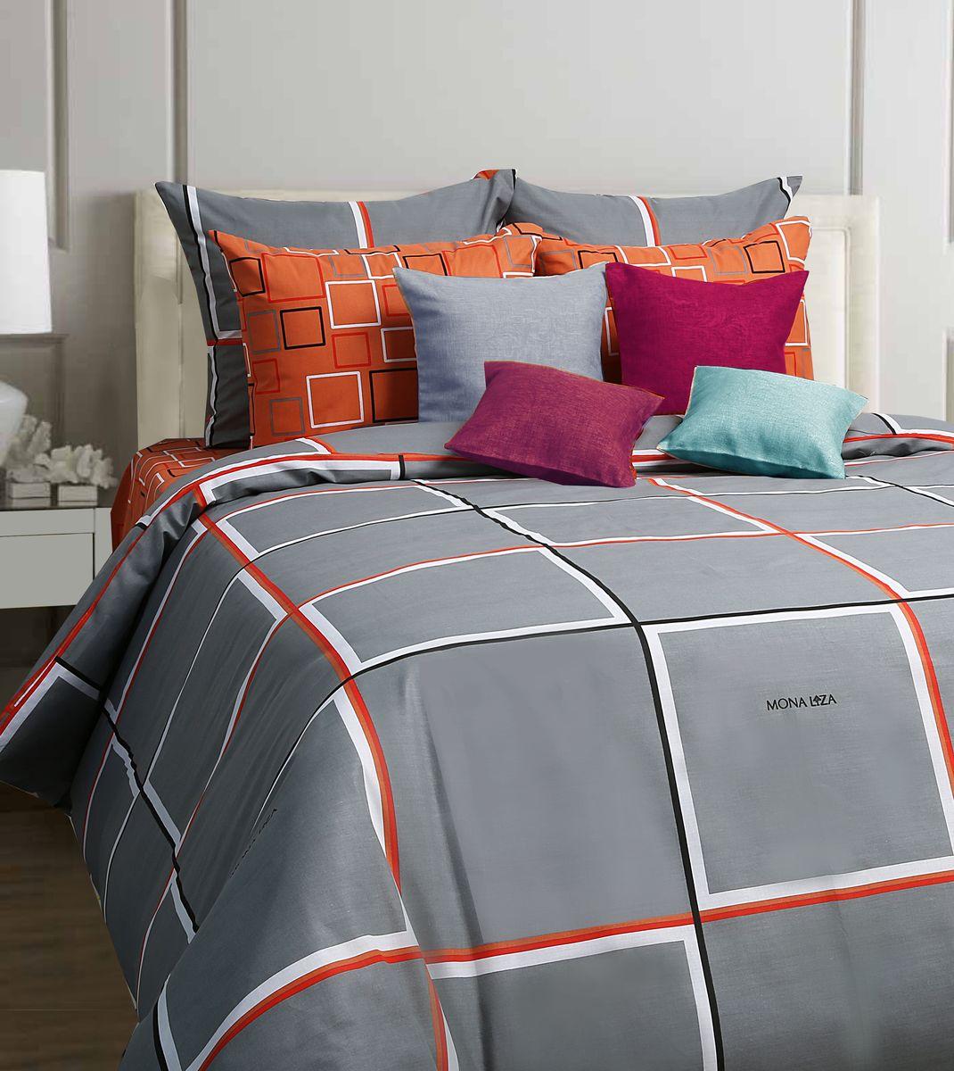 Комплект белья Mona Liza Jack, 2-спальное, наволочки 70x70CA-3505Комплект постельного белья Mona Liza Jack, выполненный из бязи (100% хлопок), состоит из пододеяльника, простыни и двух наволочек. Изделия оформлены оригинальным рисунком.Пододеяльник на пуговицах.Бязь - ткань полотняного переплетения с незначительной сминаемостью, хорошо сохраняющая цвет при стирке, легкая, с прекрасными гигиеническими показателями. Такой комплект подойдет для любого стилевого и цветового решения интерьера, а также создаст в доме уют.
