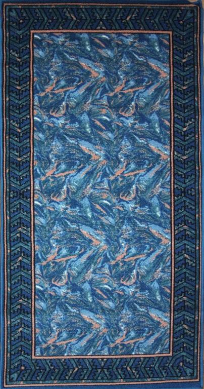 Коврик для ванной MAC Carpet Розетта, цвет: синий, 80 х 150 см68/5/2Коврики из нейлона на резиновой основе с успехом могут применяться как в ванных комнатах ,так и во всех других помещениях,где необходима защита от влаги.Нейлон обеспечивает повышенную износостойкость и простоту в уходе.