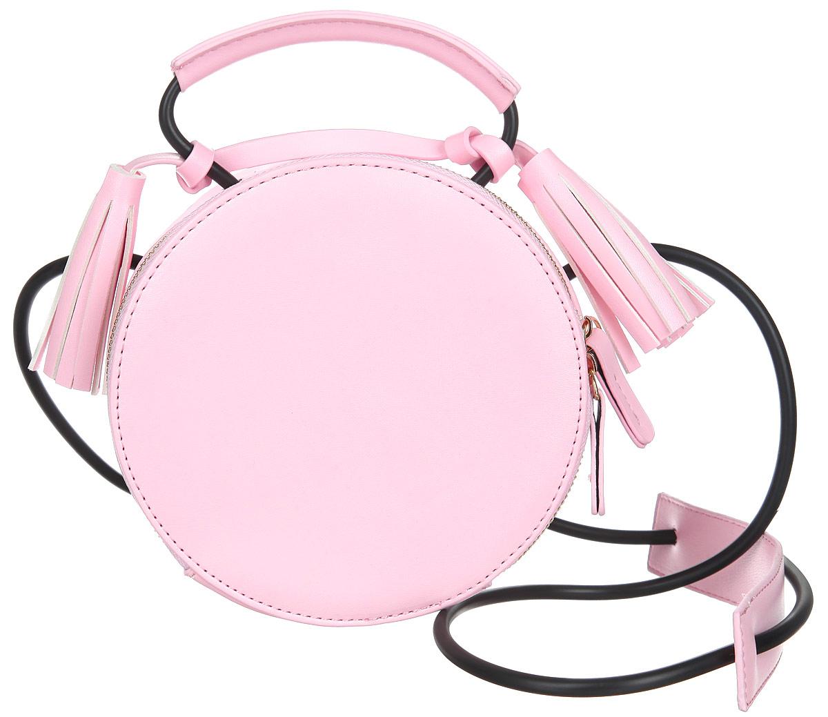 Сумка женская Orsa Oro, цвет: розовый. D-210/20BM8434-58AEИзысканная женская сумка Orsa Oro выполнена из экокожи. Сумка закрывается на замок-молнию. Внутри одно большое отделение, которое содержит один накладной карман для телефона и мелких принадлежностей. Модель имеет жесткий каркас и форму окружности. Сумка оснащена ручкой, выполненной из резинового шнурка из экокожи, декорированной кистями. Сумка оснащена резиновым плечевым шнурком с вставкой из экокожи для плеча .Практичная и стильная сумка прекрасно завершит ваш образ.