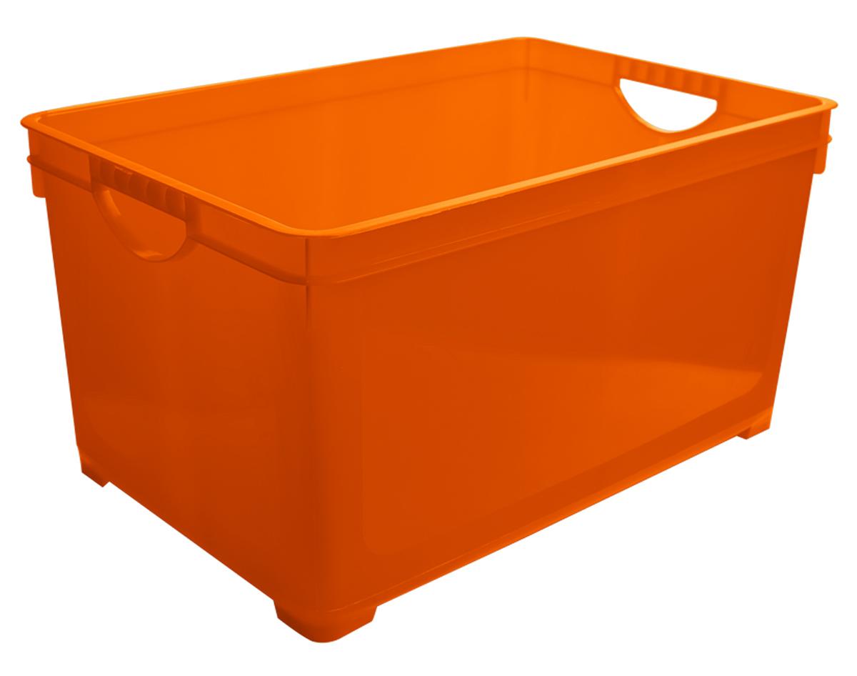 Ящик для хранения BranQ, цвет: оранжевый, 48 лHOM-16Универсальный ящик для хранения BranQ, выполненный из прочного цветного пластика, поможет правильно организовать пространство в доме и сэкономить место. В нем можно хранить все, что угодно: одежду, обувь, детские игрушки и многое другое. Прочный каркас ящика позволит хранить как легкие вещи, так и переносить собранный урожай овощей или фруктов. Ящик оснащен двумя ручками для удобной транспортировки.