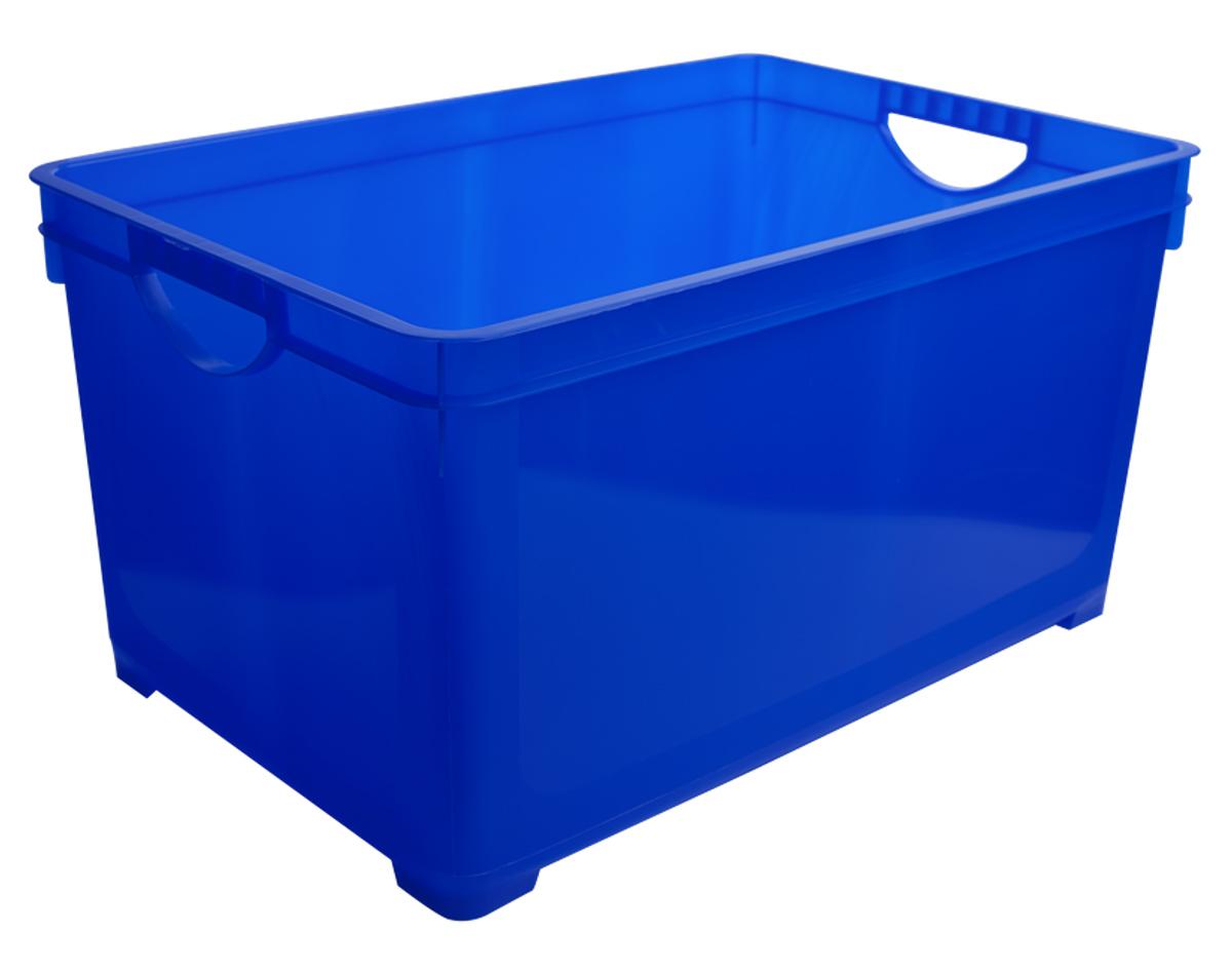 Ящик для хранения BranQ, цвет: синий, 48 лS03301004Универсальный ящик для хранения BranQ, выполненный из прочного цветного пластика, поможет правильно организовать пространство в доме и сэкономить место. В нем можно хранить все, что угодно: одежду, обувь, детские игрушки и многое другое. Прочный каркас ящика позволит хранить как легкие вещи, так и переносить собранный урожай овощей или фруктов. Ящик оснащен двумя ручками для удобной транспортировки.