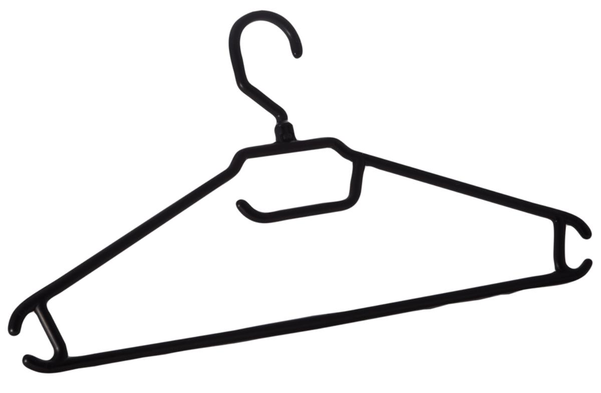 Вешалка для одежды BranQ, цвет: черный, размер 48-50Брелок для ключейВешалка BranQ изготовлена из полипропилена. Изделие оснащено перекладиной и боковыми крючками. Вешалка - это незаменимая вещь для того, чтобы одежда всегда оставалась в хорошем состоянии и имела опрятный вид.Размер одежды: 48-50.