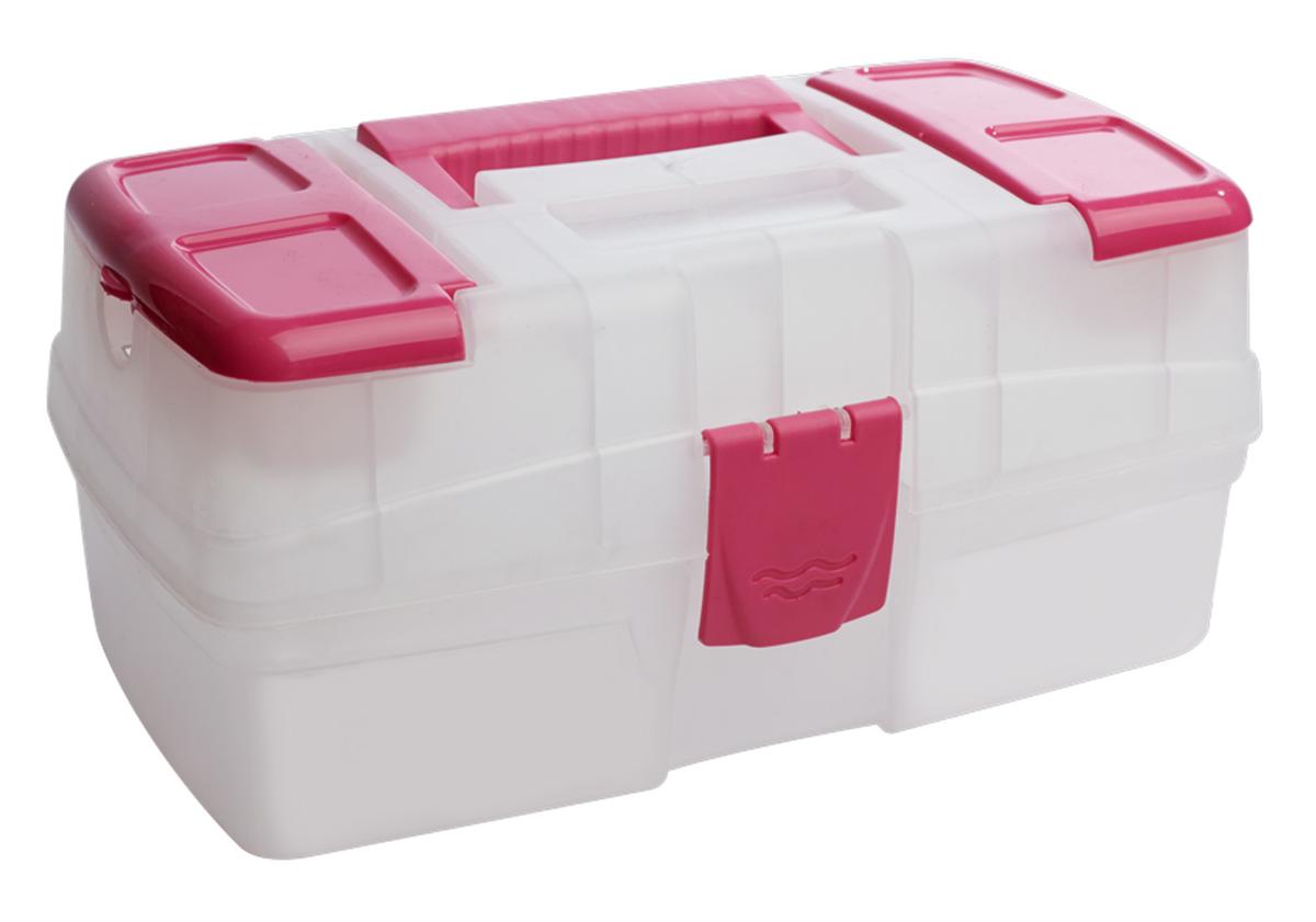 Ящик для хранения BranQ, цвет: розовый, прозрачный, 29 х 17 х 13 cм41619Ящик для хранения мелочей BranQ выполнен из высококачественного пластика. Снабженный удобной ручкой, он имеет две небольших секции на крышке, закрывающиеся двумя планками, в секциях особенно удобно хранить мелкие предметы для рукоделия: иглы, наперстки, мотки ниток. Ящик закрывается на пластиковый замок, внутри имеется одно вместительное отделение. Универсальный ящик для мелочей может использоваться в качестве аптечки, прекрасно подойдет для хранения швейных принадлежностей и других, необходимых в хозяйстве вещей.