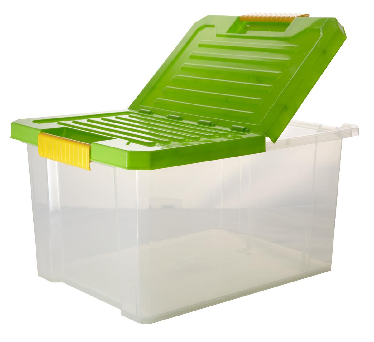 Ящик для хранения BranQ Unibox, цвет: зеленый, прозрачный, 17 л41619Универсальный ящик для хранения BranQ Unibox, выполненный из прочного пластика, поможет правильно организовать пространство в доме и сэкономить место. В нем можно хранить все, что угодно: одежду, обувь, детские игрушки и многое другое. Прочный каркас ящика позволит хранить как легкие вещи, так и переносить собранный урожай овощей или фруктов. Изделие оснащено складной крышкой, которая защитит вещи от пыли, грязи и влаги. Эргономичные ручки-защелки, позволяют переносить ящик как с крышкой, так и без нее.