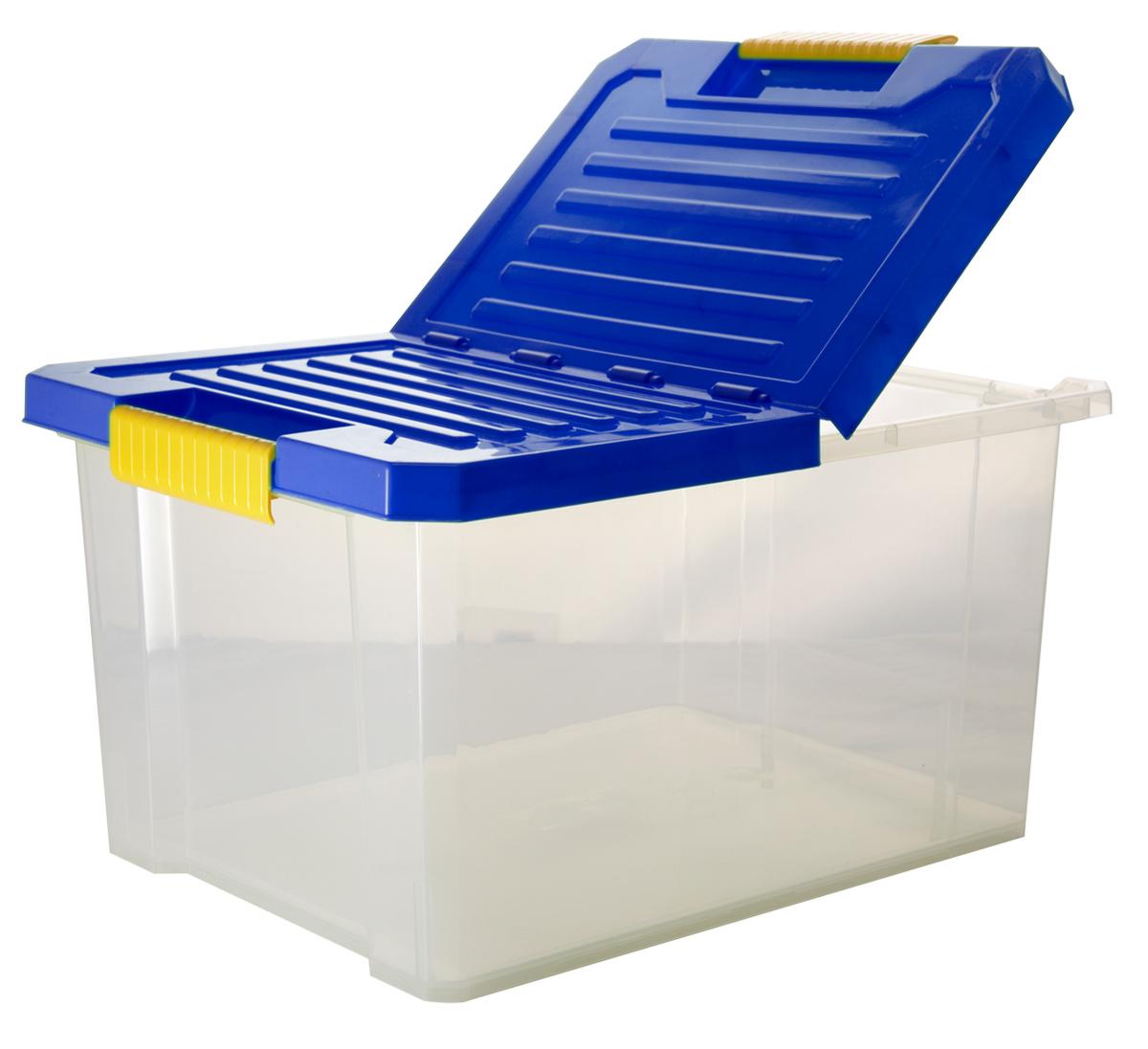 Ящик для хранения BranQ Unibox, цвет: синий, прозрачный, 17 л8812Универсальный ящик для хранения BranQ Unibox, выполненный из прочного пластика, поможет правильно организовать пространство в доме и сэкономить место. В нем можно хранить все, что угодно: одежду, обувь, детские игрушки и многое другое. Прочный каркас ящика позволит хранить как легкие вещи, так и переносить собранный урожай овощей или фруктов. Изделие оснащено складной крышкой, которая защитит вещи от пыли, грязи и влаги. Эргономичные ручки-защелки, позволяют переносить ящик как с крышкой, так и без нее.
