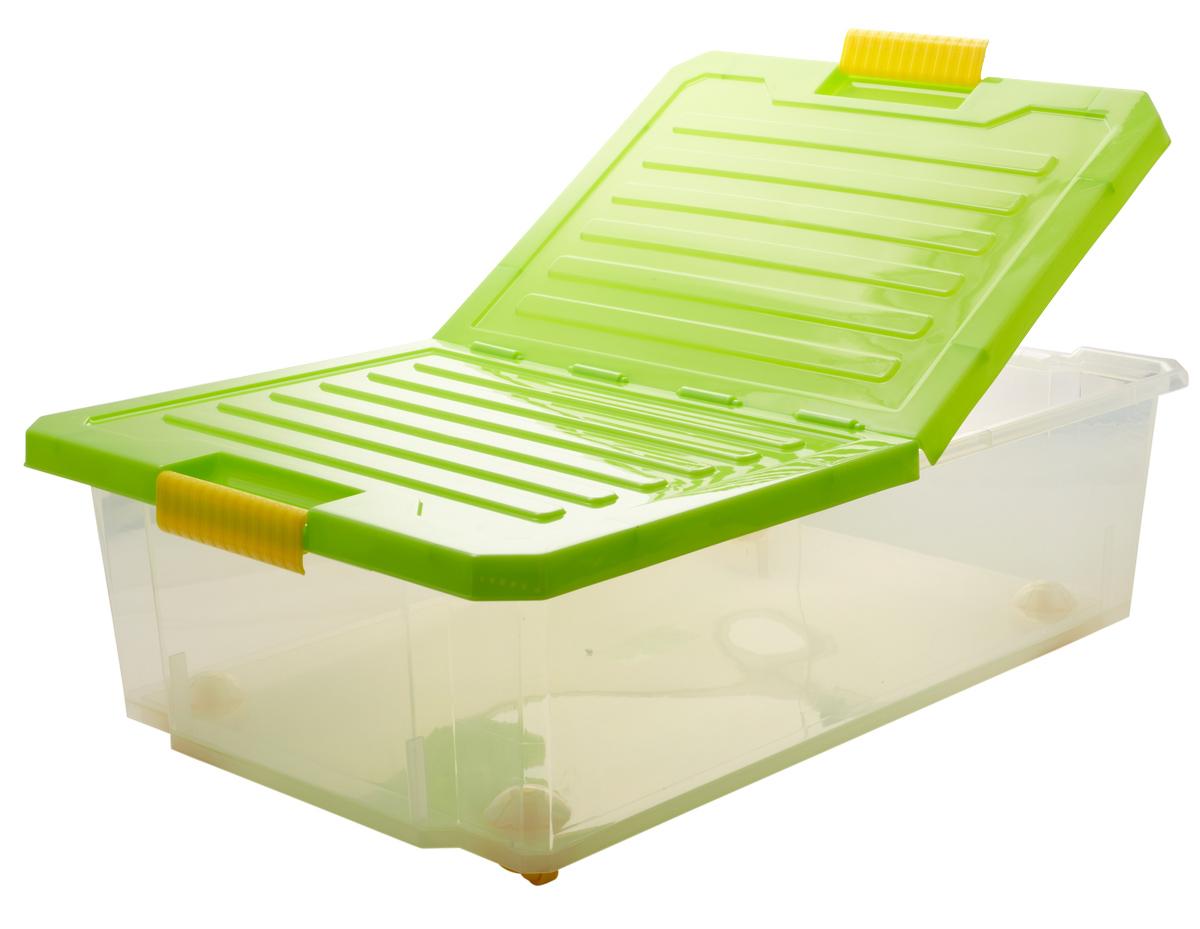 Ящик для хранения BranQ Unibox, на колесиках, цвет: зеленый, прозрачный, 30 л28907 4Универсальный ящик для хранения BranQ Unibox, выполненный из прочного пластика, поможет правильно организовать пространство в доме и сэкономить место. В нем можно хранить все, что угодно: одежду, обувь, детские игрушки и многое другое. Прочный каркас ящика позволит хранить как легкие вещи, так и переносить собранный урожай овощей или фруктов. Изделие оснащено складной крышкой, которая защитит вещи от пыли, грязи и влаги. С помощью колесиков на дне изделия ящик легко перемещать по комнате. Эргономичные ручки-защелки, позволяют переносить ящик как с крышкой, так и без нее.