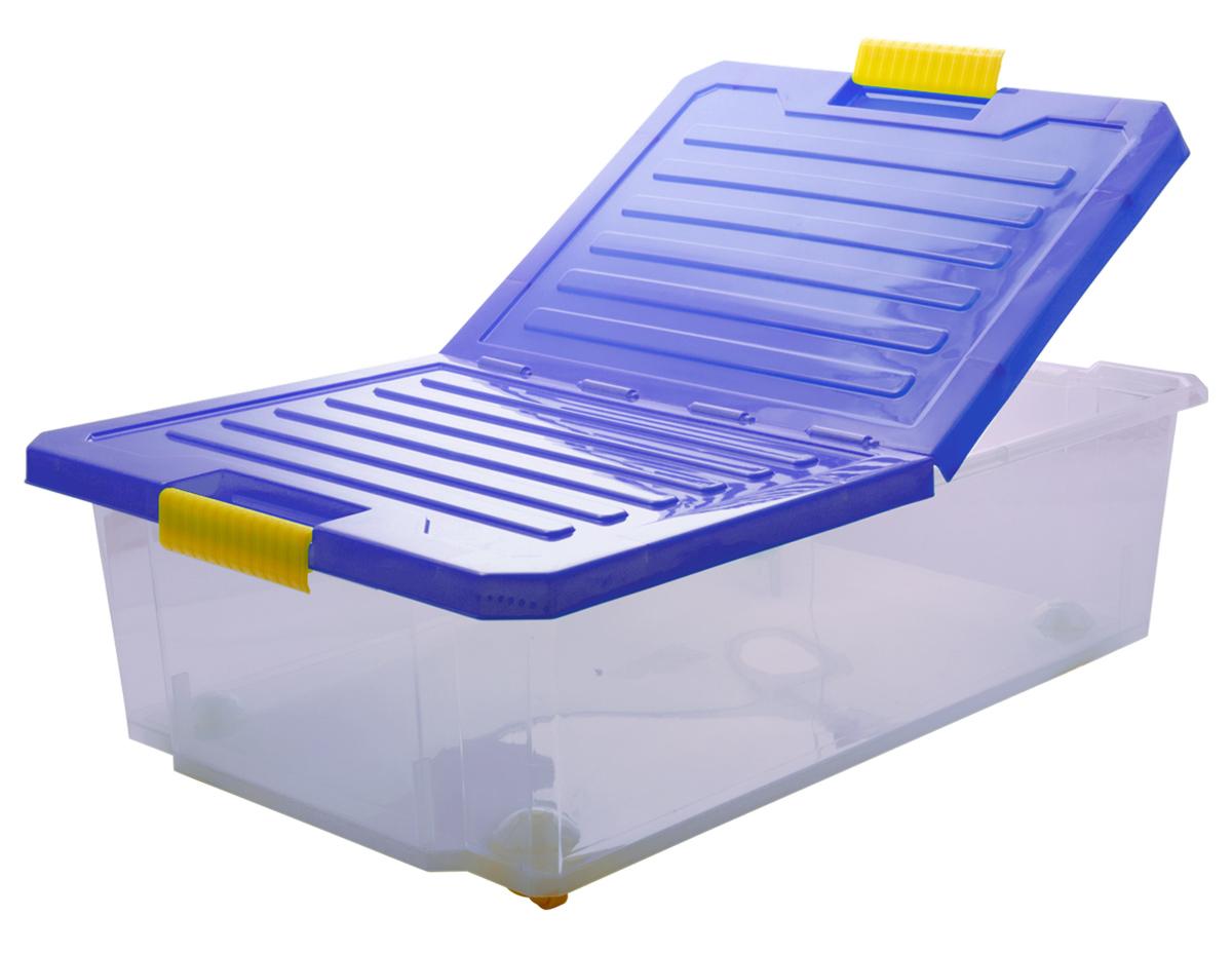 Ящик для хранения BranQ Unibox, на колесиках, цвет: синий, прозрачный, 30 л12723Универсальный ящик для хранения BranQ Unibox, выполненный из прочного пластика, поможет правильно организовать пространство в доме и сэкономить место. В нем можно хранить все, что угодно: одежду, обувь, детские игрушки и многое другое. Прочный каркас ящика позволит хранить как легкие вещи, так и переносить собранный урожай овощей или фруктов. Изделие оснащено складной крышкой, которая защитит вещи от пыли, грязи и влаги. С помощью колесиков на дне изделия ящик легко перемещать по комнате. Эргономичные ручки-защелки, позволяют переносить ящик как с крышкой, так и без нее.