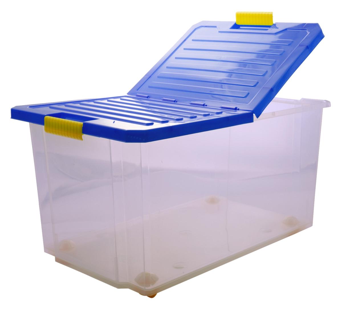 Ящик для хранения BranQ Unibox, на колесиках, цвет: синий, прозрачный, 57 л1004900000360Универсальный ящик для хранения BranQ Unibox, выполненный из прочного пластика, поможет правильно организовать пространство в доме и сэкономить место. В нем можно хранить все, что угодно: одежду, обувь, детские игрушки и многое другое. Прочный каркас ящика позволит хранить как легкие вещи, так и переносить собранный урожай овощей или фруктов. Изделие оснащено складной крышкой, которая защитит вещи от пыли, грязи и влаги. С помощью колесиков на дне изделия ящик легко перемещать по комнате. Эргономичные ручки-защелки, позволяют переносить ящик как с крышкой, так и без нее.