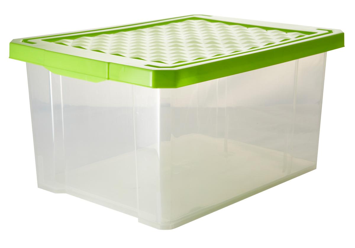 Ящик для хранения BranQ Optima, цвет: зеленый, прозрачный, 17 л1004900000360Универсальный ящик для хранения BranQ Optima, выполненный из прочного пластика, поможет правильно организовать пространство в доме и сэкономить место. В нем можно хранить все, что угодно: одежду, обувь, детские игрушки и многое другое. Прочный каркас ящика позволит хранить как легкие вещи, так и переносить собранный урожай овощей или фруктов. Изделие оснащено крышкой, которая защитит вещи от пыли, грязи и влаги.