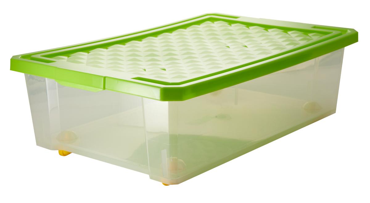 Ящик для хранения BranQ Optima, на колесиках, цвет: зеленый, прозрачный, 30 лAHS761Универсальный ящик для хранения BranQ Optima, выполненный из прочного пластика, поможет правильно организовать пространство в доме и сэкономить место. В нем можно хранить все, что угодно: одежду, обувь, детские игрушки и многое другое. Прочный каркас ящика позволит хранить как легкие вещи, так и переносить собранный урожай овощей или фруктов. С помощью колесиков на дне изделия ящик легко перемещать по комнате. Изделие также оснащено крышкой, которая защитит вещи от пыли, грязи и влаги.