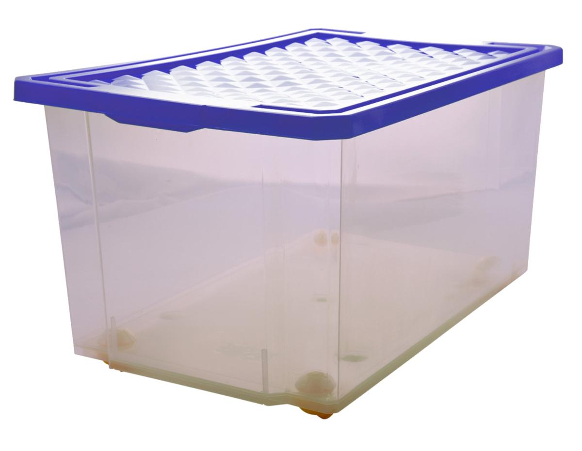 Ящик для хранения BranQ Optima, на колесиках, цвет: синий, прозрачный, 57 лES-412Универсальный ящик для хранения BranQ Optima, выполненный из прочного пластика, поможет правильно организовать пространство в доме и сэкономить место. В нем можно хранить все, что угодно: одежду, обувь, детские игрушки и многое другое. Прочный каркас ящика позволит хранить как легкие вещи, так и переносить собранный урожай овощей или фруктов. С помощью колесиков на дне изделия ящик легко перемещать по комнате. Изделие также оснащено крышкой, которая защитит вещи от пыли, грязи и влаги.