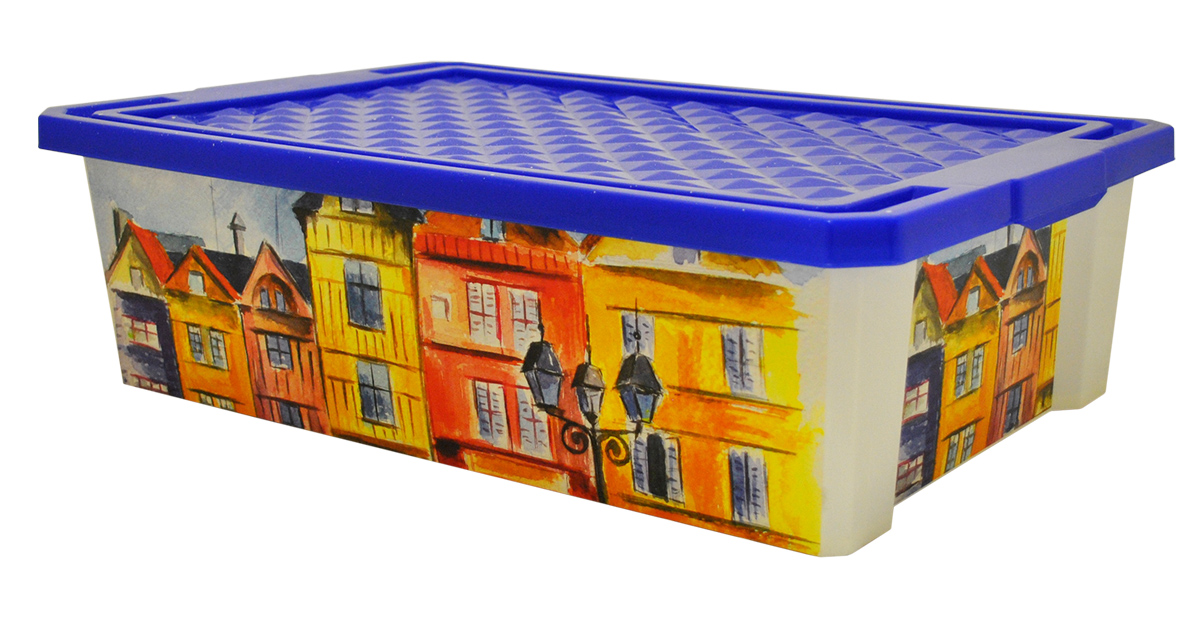 Ящик для хранения BranQ Optima. Город, 30 л531-401Универсальный ящик для хранения BranQ Optima. Город, выполненный из прочного пластика, поможет правильно организовать пространство в доме и сэкономить место. Ящик, декорированный оригинальным принтом, впишется в любой интерьер и дополнит его. В нем можно хранить все, что угодно: одежду, обувь, детские игрушки и многое другое. Прочный каркас ящика позволит хранить как легкие вещи, так и переносить собранный урожай овощей или фруктов. Изделие оснащено крышкой, которая защитит вещи от пыли, грязи и влаги.