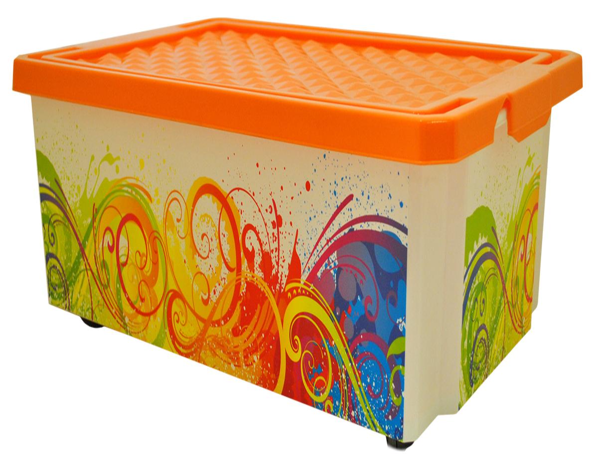 Ящик для хранения BranQ Optima. Брызги, на колесиках, 57 лRG-D31SУниверсальный ящик для хранения BranQ Optima. Брызги, выполненный из прочного пластика, поможет правильно организовать пространство в доме и сэкономить место. Ящик, декорированный оригинальным принтом, впишется в любой интерьер и дополнит его. В нем можно хранить все, что угодно: одежду, обувь, детские игрушки и многое другое. Прочный каркас ящика позволит хранить как легкие вещи, так и переносить собранный урожай овощей или фруктов. Изделие оснащено крышкой, которая защитит вещи от пыли, грязи и влаги. С помощью колесиков на дне ящик легко перемещать по комнате.