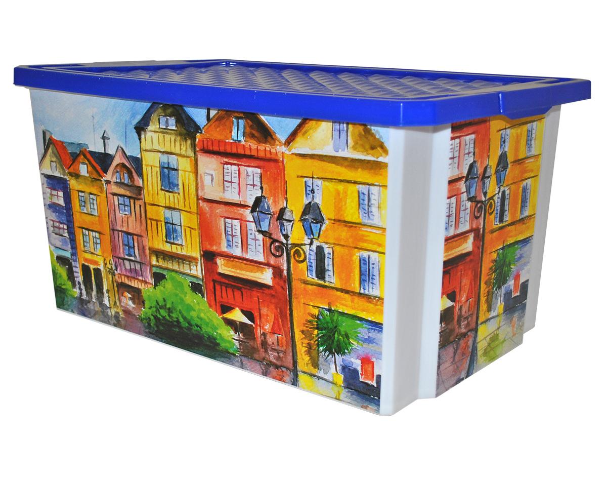 Ящик для хранения BranQ Optima. Город, 57 лBQ2586ГРУниверсальный ящик для хранения BranQ Optima. Город, выполненный из прочного пластика, поможет правильно организовать пространство в доме и сэкономить место. Ящик, декорированный оригинальным принтом, впишется в любой интерьер и дополнит его. В нем можно хранить все, что угодно: одежду, обувь, детские игрушки и многое другое. Прочный каркас ящика позволит хранить как легкие вещи, так и переносить собранный урожай овощей или фруктов. Изделие оснащено крышкой, которая защитит вещи от пыли, грязи и влаги.