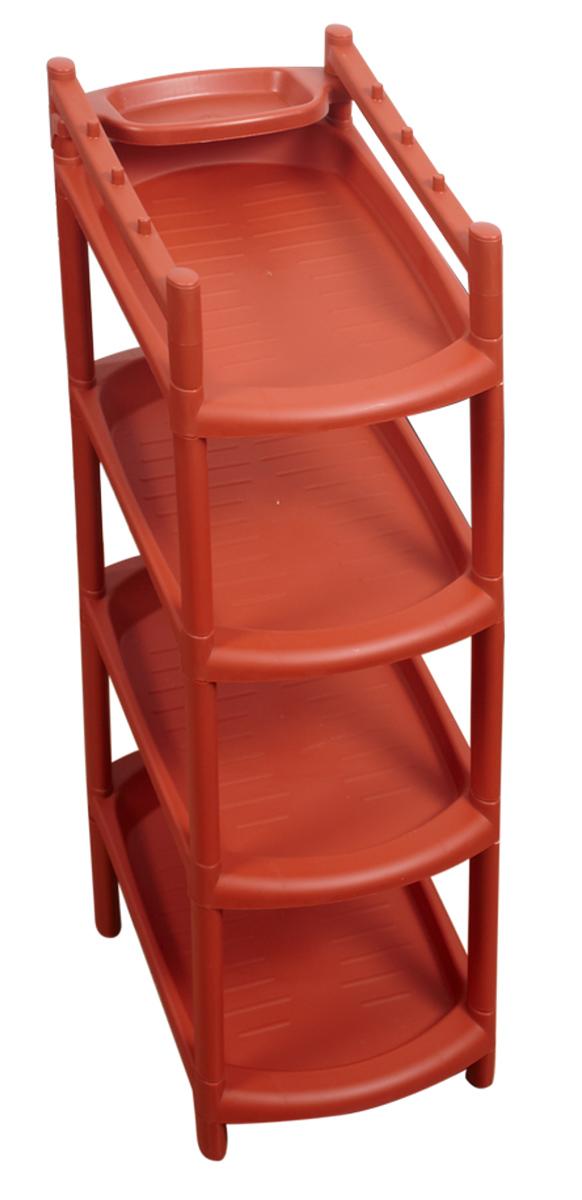 Этажерка для обуви BranQ, 4-ярусная, цвет: терракотовый, 41,5 х 25,5 х 81 см. BQ2801ТРBQ2831СЛКЭтажерка BranQ с 4 полками выполнена из высококачественного пластика и предназначена для хранения обуви в прихожей. Очень удобная и компактная, но в тоже время вместительная, этажерка прекрасно впишется в пространство вашей прихожей. Легко собирается и разбирается.