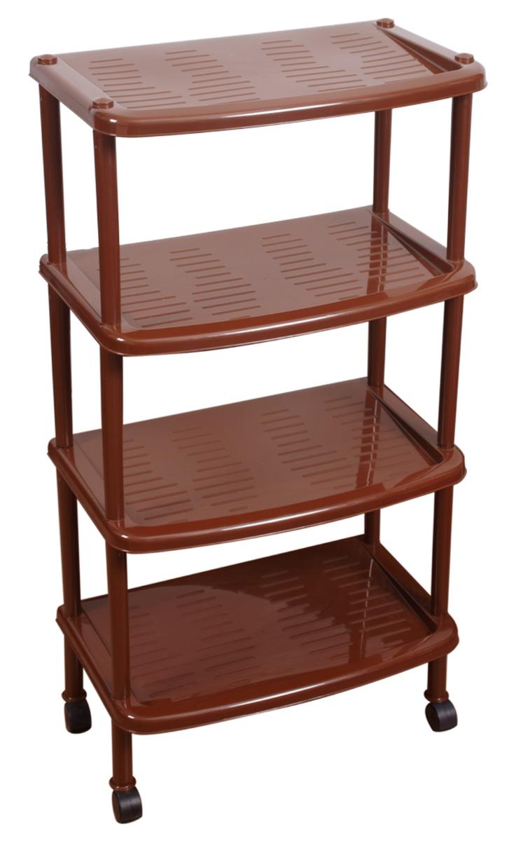 Этажерка для обуви BranQ, 4-ярусная, на колесиках, цвет: коричневый, 50 х 31 х 96 см. BQ2814КЧS03301004Этажерка BranQ с 4 полками выполнена из высококачественного пластика и предназначена для хранения обуви в прихожей. На каждой полке может поместиться по две пары обуви. Благодаря колесикам этажерку можно перемещать в любую сторону без особых усилий. Очень удобная и компактная, но в тоже время вместительная, этажерка прекрасно впишется в пространство вашей прихожей. Легко собирается и разбирается.
