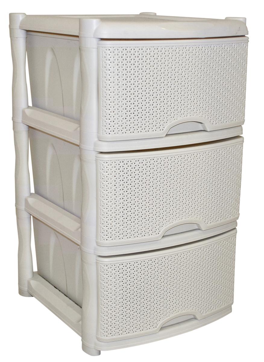 Комод BranQ Natural Style, цвет: айвори, 3 секции. BQ3772АЙВ54 009312Комод BranQ Natural Style изготовлен из высококачественного пластика. Ящики оформлены уникальным дизайном под ротанг. Комод предназначен для хранения различных вещей и состоит из трех вместительных выдвижных секций. Такой оригинальный комод надежно защитит вещи от загрязнений, пыли и моли, а также позволит вам хранить их компактно и с удобством. Стильный дизайн комода дополнит интерьер комнаты.