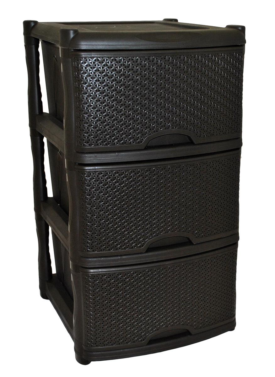 Комод BranQ Natural Style, цвет: венге, 3 секции. BQ3772ВНГTHN132NКомод BranQ Natural Style изготовлен из высококачественного пластика. Ящики оформлены уникальным дизайном под ротанг. Комод предназначен для хранения различных вещей и состоит из трех вместительных выдвижных секций. Такой оригинальный комод надежно защитит вещи от загрязнений, пыли и моли, а также позволит вам хранить их компактно и с удобством. Стильный дизайн комода дополнит интерьер комнаты.